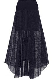 Floral-lace and wool and cashmere-blend skirt
