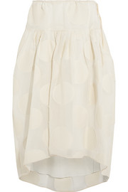 Silk-blend fil coupé skirt