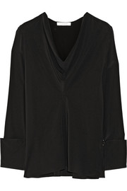 Draped silk crepe de chine blouse