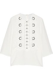 Chloé Guipure lace-paneled gauze top