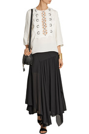 Guipure lace-paneled gauze top