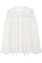 Fringed crocheted cotton-blend and chiffon blouse