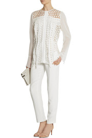 Chloé Fringed crocheted cotton-blend and chiffon blouse