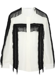 Fringed crepe blouse