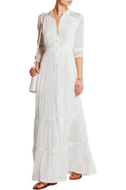 Sieste embroidered silk-chiffon maxi dress