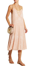 Angeac embroidered silk-crepe dress