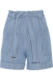 Kelcalme belted cotton-blend shorts