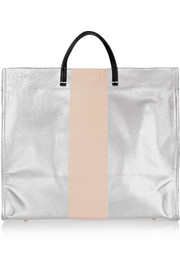 Simple printed textured-leather tote