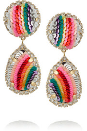Rainbow gold-plated, Swarovski crystal and sequin clip earrings