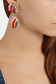 Shourouk Rainbow gold-plated, Swarovski crystal and sequin clip earrings