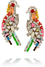 Parrot gold-plated Swarovski crystal clip earrings