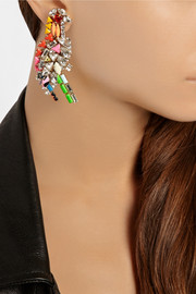 Shourouk Parrot gold-plated Swarovski crystal clip earrings