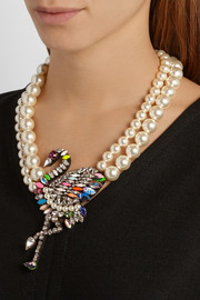 Shourouk Flamingo gold-plated, Swarovski crystal and faux pearl necklace