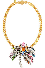 Palm Tree gold-plated Swarovski crystal necklace