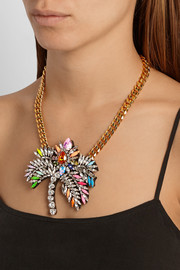 Shourouk Palm Tree gold-plated Swarovski crystal necklace