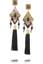 Gold-tone, cabochon and tassel clip earrings