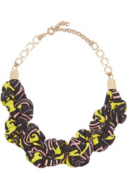 Etro Silk-faille and gold-plated necklace