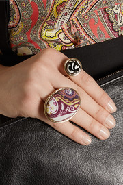 Etro Gold-plated, silk and glass three-finger ring