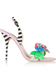 Sophia Webster Lilico floral-appliquéd striped leather sandals