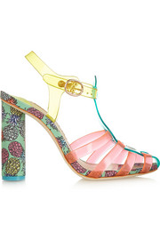 Rosa vinyl and printed satin sandals