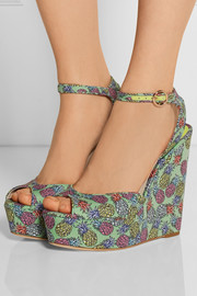 Sophia Webster Lula printed satin wedge sandals