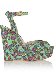 Lula printed satin wedge sandals