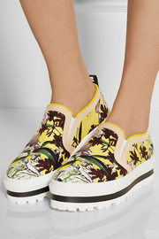 Leather-trimmed floral-print canvas sneakers