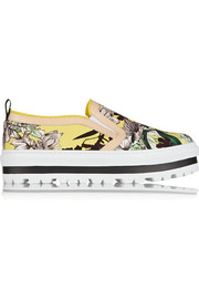 MSGM Leather-trimmed floral-print canvas sneakers