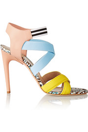 Elasticated grosgrain and leather sandals