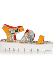 Leather-trimmed printed canvas sandals