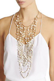 Rosantica Cometa gold-dipped, bead and freshwater pearl necklace