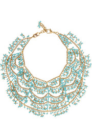 Gold-dipped turquoise multi-strand necklace