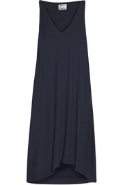 Asymmetric modal and cotton-blend twill dress