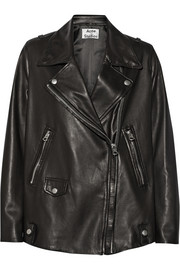 Swift Light oversized leather biker jacket