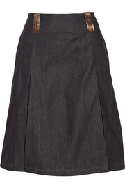 Acne Studios Kate leather-trimmed denim skirt