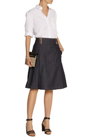 Kate leather-trimmed denim skirt
