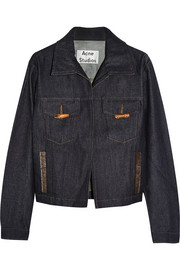 North Raw leather-trimmed denim jacket