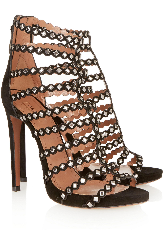 Alaïa Studded laser-cut suede sandals