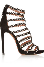 Studded laser-cut suede sandals