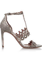 Laser-cut embellished lizard sandals