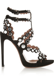 Mirror-embellished laser-cut suede sandals