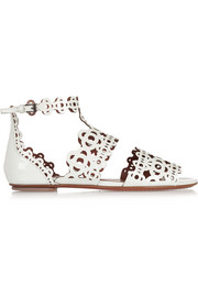 Laser-cut patent-leather sandals