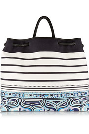 Printed canvas and braided leather tote