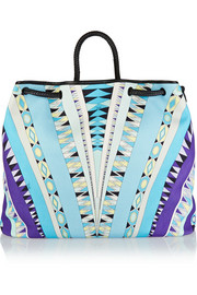 Leather-trimmed printed cotton-canvas tote