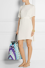 Emilio Pucci Leather-trimmed printed cotton-canvas tote