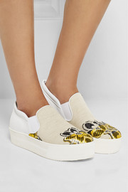 Leather-paneled embroidered canvas slip-on sneakers
