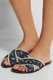 Cyprus embellished denim slides