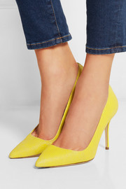 J.Crew Elsie cracked-leather pumps