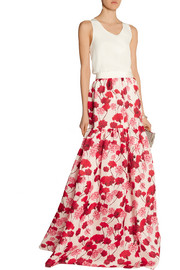 Printed silk-gazar maxi skirt
