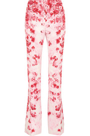 Floral-print silk-faille flared pants